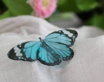 Blue tiger butterfly brooch, made by hand in UK.