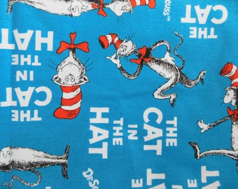 Dr Seuss Cat in the Hat fabric material + star material Robert Kaufman