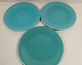 """Homer Laughlin Genuine Fiesta, Turquoise Blue 6 3/8"""" Bread Plates,  Set of 3  All with Genuine Fiesta HL Co USA backstamp"""