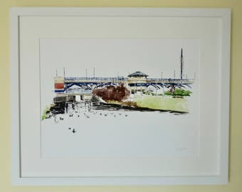 Tees Barrage Giclee Watercolour Print: from Views of the River Tees series