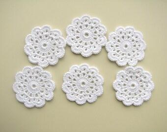 Flower appliques, Flower motif, Crochet flower, Sew on applique, White, Wedding garland motif