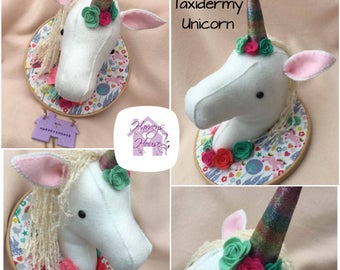Faux Taxidermy Unicorn Trophy Head Made To Order