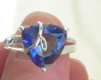 RAINBOW Faceted CRYSTAL/Rhinestones white gold plated, stamp. 925 mounted RING