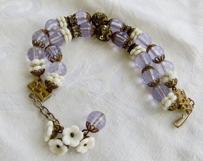Vintage Hobe Bracelet, Double Strand, Amethyst Lucite, Rhinestone Rondelles, Milk Glass Flowers