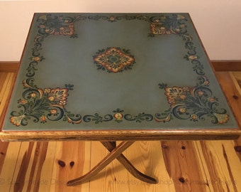 Hand Painted Vintage Card Table