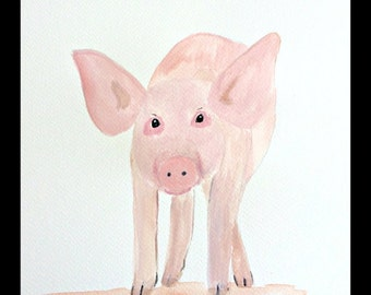 Piglet art Pig art watercolour painting Farm animals art Piglet painting Baby animal Piglet decor Animal art Nursery art 9 X 12 inches