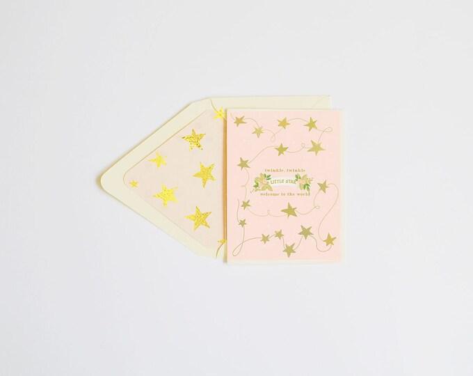 Twinkle Twinkle, Little Star Blush w gold foil stars