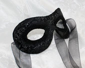 Black Satin Eye Mask, MADE TO ORDER Black Satin Brocade Zorro Men's Eye Masquerade Mask