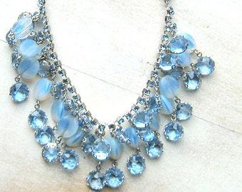 Gorgeous Vintage Baby Blue Rhinestone Crystal Necklace Matching Clip Drop Earrings Earrings Vintage Bride 1950's Bridal Vintage Wedding