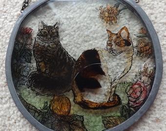 Sun catcher , glass sun catcher, cats, cat suncatcher, tabby cat, calico cat, tortoiseshell