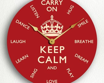 Keep Calm and Carry On Inspirational Themes Silent Wall Clock