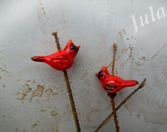 Lampwork bird, Lampwork bead, Glass bird, Cardinal bird