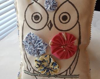 Whimsical Owl Pillow Appliqued Scrap Pillow Fabric Scrap Pillow Stuffed Owl Novelty Pillow Bird Pillow Ruffle Pillow Yo Yo Handmade Pillow