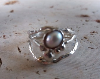 Organic Silver And Gold Pearl Ring