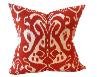 Red Ikat Pillow Cover Indo Poppy -Ethnic Inspired Designer Pillow Cover. 19 x 19  Inches