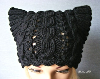Black cat hat, knit cat hat, women's cat hat, cat ear hat, black pussy hat, handmade, cable beanie, hat with small horns, women's cat hat