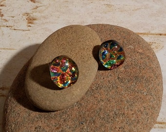 Oval Black, Copper, Blue Dichroic Fused Glass Post Earrings - FG-061