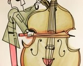 The Octobass Player: ink and watercolor piece.  14 x 17
