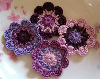 4 Crochet  Flowers In 2 inches  Applies YH - 232