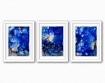 Blue original painting abstract painting modern art wallart decor in blue grey