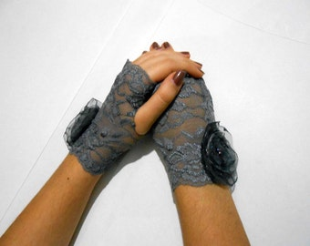 Gray Lace fingerless gloves Charcoal Wedding Gloves with organza flowers