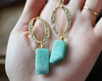 ONE-OF-A-KIND // Amazonite Rectangular Slabs + Hammered Oval Earrings, Gypsy Moonchild Gift For Her, Earrings