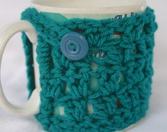 Thick Mug Cozy Crocheted in Bright Blue with Vintage Button Mug Sweater