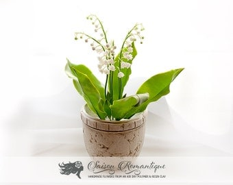 Lily of the valley in the pot - Polymer Clay Flowers - Mothers Day Gift for Women Gift For Her Flower Lily of valley