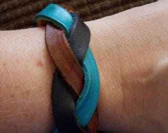 Leather braided leather cuff