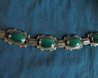 Vintage Sterling Silver and Malachite Link Bracelet