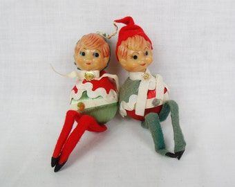 Christmas Elf Ornaments satin balls with felt hat plastic faces vintage lot of 2
