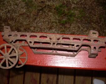 Vintage Cast Iron Fire  Engine Ladder Wagon toy