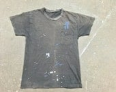 Vintage Faded Black Pocket T-Shirt with All Over Paint: C-064