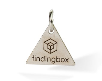 Antique Silver Triangle Jewelry Tag, Laser Engraved Logo on Triangle Tags Sequins, 15x15mm, 19 Gauge, Pkg of 100 PCS, F14N.AS11.P100.C