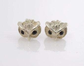 Vintage Owl Sterling Silver Stud Earrings Black Onyx Eyes, vintage jewelry, silver jewelry