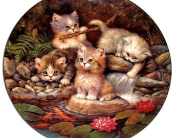 By the Lily Pond Kittens Expedition Fine China Collectors Plate  - Jurgen Schotz - Kitten Limited Edition - Kahla Germany