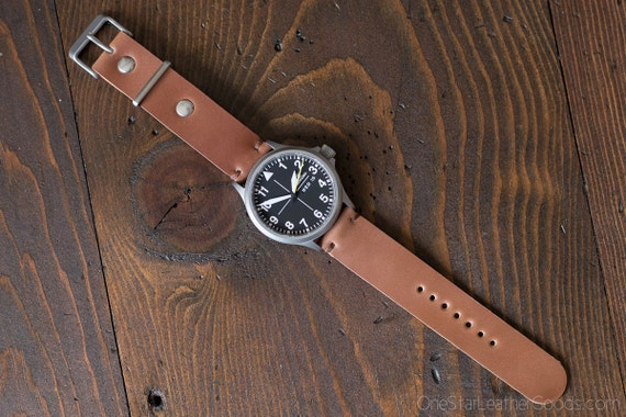 Horween shell cordovan two piece watch band - natural