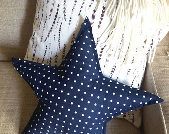 Star shaped pillow.  Decorative star pillow.  Nursery decor. Navy blue star pillow.