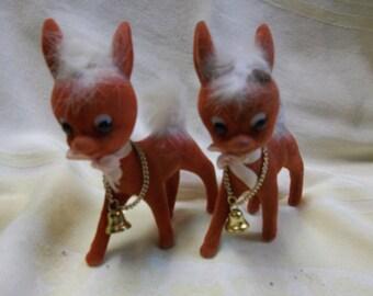 Vintage Two Felt Reindeer in Reddish Brown Color, T