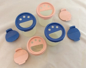 Vintage Tupperware Small Containers, Tupperware Modular Mates /Blue Lid Tupperware Containers/ Pink Lid Tupperware