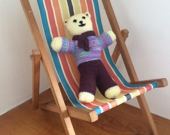 Vintage toy wooden deck chair