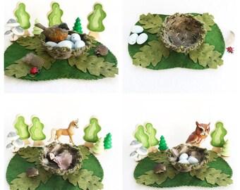 Nest Playscape Play Mat - wool felt storytelling fairytale - Dollhouse woodland fantasy pretend play playmatfairy house bird oak leaf