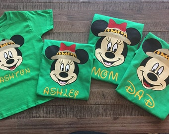 Group Price* Animal Kingdom Family Disney Shirts - Mickey/Minnie Face w/Safari hat
