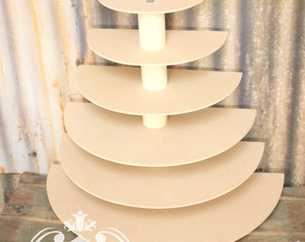 Half Round Cupcake Stand MDF Wood Display 6 Tier Wedding Birthday Donut Stand Dessert Tower Cake Pop Stand Unpainted DIY Project