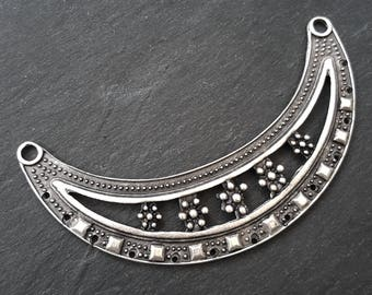 Large Dotted Ethnic Necklace Focal Collar Pendant Connector - Matte Antique Silver Plated - 1PC