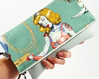Rockabilly Zombie Purse, Wristlet Clutch, Pinup Purse, Clutch Bag, Foldover Clutch, Gift For Her, Birthday Gift, Eclectic Gift