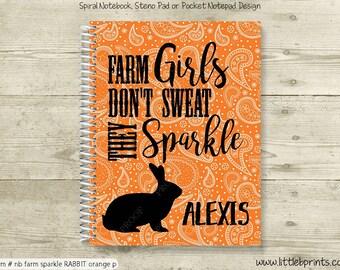 Livestock Rabbit Personalized Notebook Steno Pad or Notepad Journal Spiral Bound Livestock Judging Fairs Farm