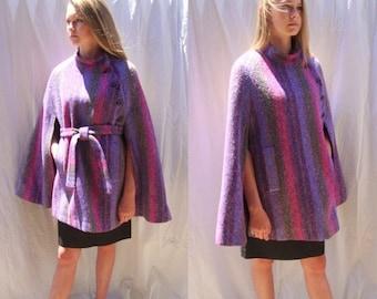 CLEARANCE vintage 1960s  Irish cape, short capelet, cloak, stripe wool tweed, Ireland, Colette Modes, boho,hippie, mod, mad men,  Sz medium/