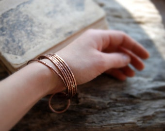 Handmade Copper Bangles, set of six,  stacking bangles, hammered copper bracelets, Copper Bangle Bracelets, bohemian, hippi style, MARIAELA