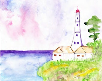 ORIGINAL   Abstract Watercolor  Painting  Lighthouse  Landscape  Contemporary  Art   Modern